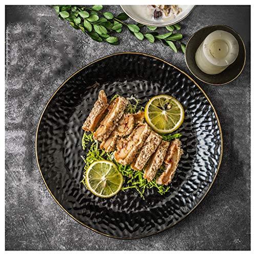 YYF Assiette irrégulière en céramique noire créative - Assiette/bol Vintage Dim Cooking anti-brûlure (Taille : 26.4cm)