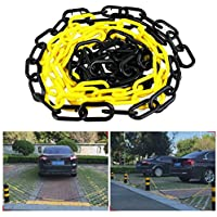 Barrera de plástico con bloqueo de cadena de aparcamiento, seguridad comercial para soporte de tráfico, advertencia de aislamiento, tope 4 m/4,37 yd columna de carretera.