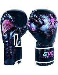 Evo Fitness - Gants Boxe Femme Cuir Rex Gel Pour Sac De Frappe MMA Muay Thai Arts Martiaux Kickboxing