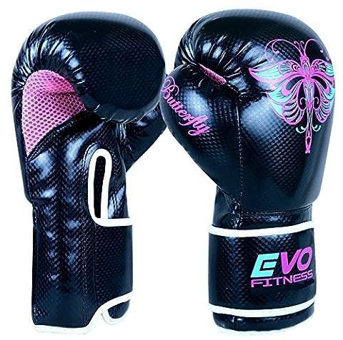Evo Fitness - Gants Boxe Femme Cuir Rex Gel Pour Sac De Frappe MMA Muay Thai Arts Martiaux Kickboxing - 8 Oz