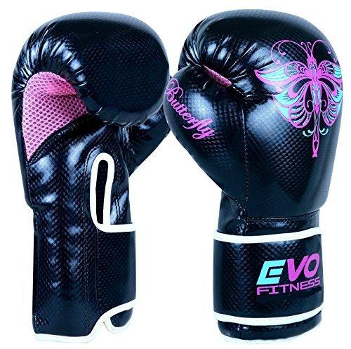 Evo Fitness Ladies GEL Rex - Boxhandschuhe aus Leder für Damen - geeignet für Punching Übungungen und alle gängigen Kampfsportarten - MMA Muay Thai Kick Boxing 8 Oz (Evo Fitness)