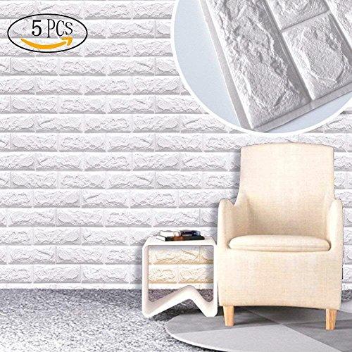 5 Blatt 3D Stereo-Aufkleber, SUNKAX 60x60cm DIY-Wand-Aufkleber Wasserdichter Wand-Aufkleber Design Tapete Weiß Ziegelstein Mauerstein Tapete Brick Pattern Wallpaper für Fernsehapparat Wände / Schlafzimmer/Sofa-Hintergrund-Wand-Dekor,3D Wandpaneele Selbstklebend (5 Blatt)