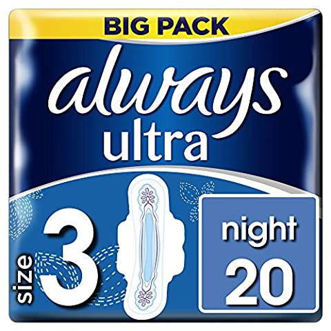 Always Ultra Night Sanitary Towels with Wings - Size 3, 20 Pads