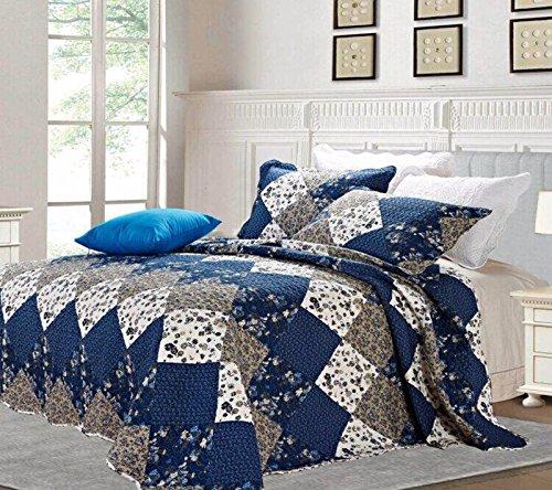 Sunrise Bettwäsche Patchwork Tagesdecke Set 3Stück Leicht Tröster Aussehende Luxuriöse, Polybaumwolle, Blue (C47-10), Single (170 x 220 cm) (10 Stück Tröster)