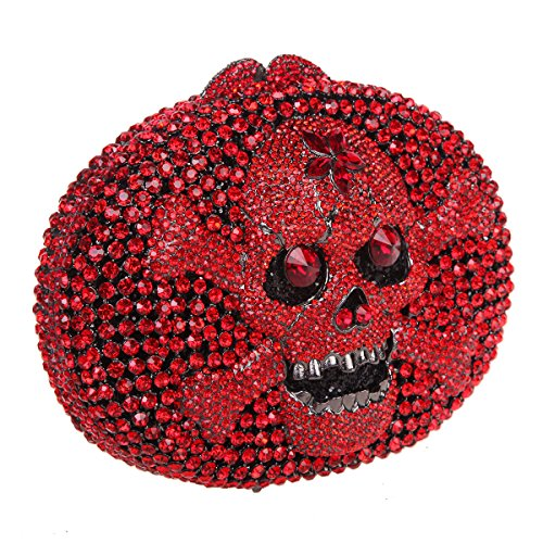 Bonjanvye Crystal Rhinestone Bags Purses with Skulls Clutch Evening Bag for Halloween Party Silver Red
