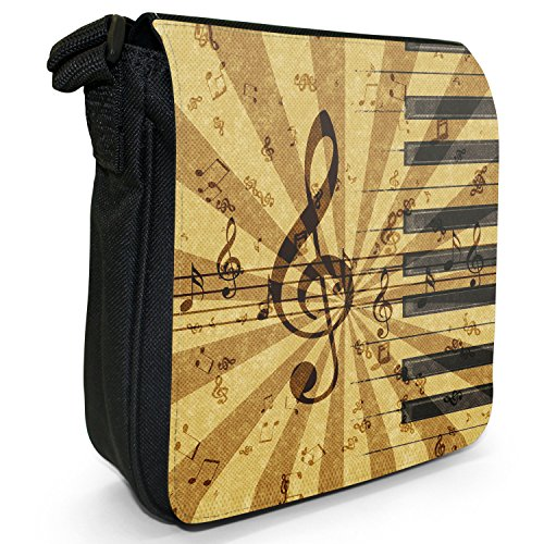Vintage grunge Music Notes piccolo nero Tela Borsa a tracolla, taglia S Grunge Music Harmony Notes