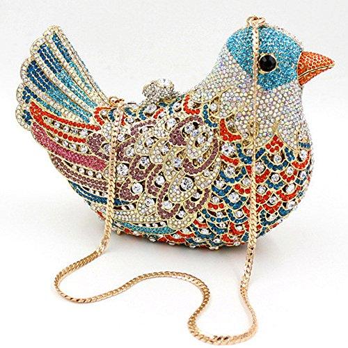 Santimon Donna Pochette Borsa Uccello Custodia Rigida Lusso Borsellini Diamante Cristallo Borse Da Seta Con Tracolla Amovibile e Pacco Regalo 15 Colori chiaro blu