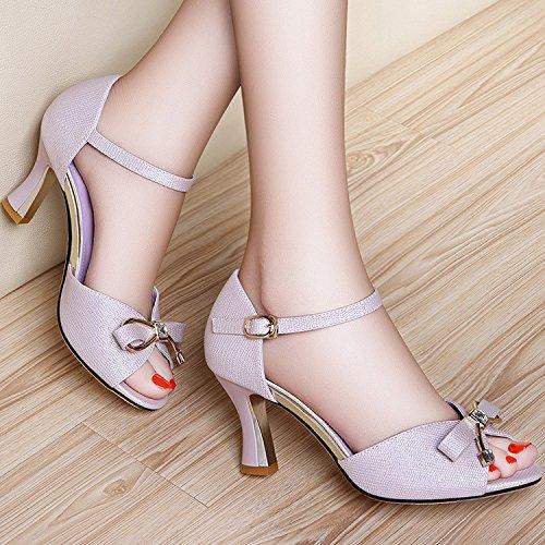 ZPPZZP La sig.ra sandali artificiale porta poco profonda pacchetto con un a tacco alto fine con 36EU