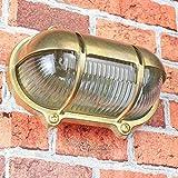 Außenwandlampe Messing Maritim Glasschirm Käfig IP64 Schiffslampe Außenleuchte Robust Hauswand Balkon - 2