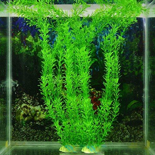 Planta acuática artificial, de plástico, color verde, para decoración de peceras