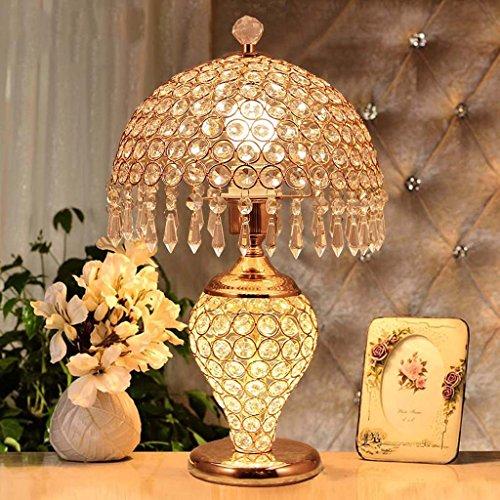 CivilWeaEU- Kristall Tischlampe Europäische Tischlampe Schlafzimmer Bett Modern Minimalist Wohnzimmer Kaffeetisch Kreative Lampe Hochzeit Geschenke ( Farbe : Gold )