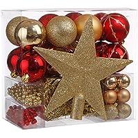 Lote de navidad - Kit 44 piezas para decorar árbol: Guirnaldas, Bolas y Estrella cima - Tema color: Oro y Rojo