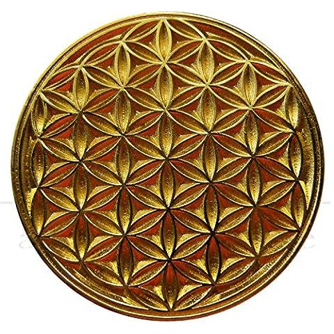 EnerChrom Blume des Lebens Neodym-Magnet-Pin | Metall-Kleider-Button Unisex | Farbe Gold | Ø 2,3 cm
