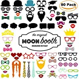 Photo Booth per Foto Matrimonio Compleanno - Set 80 Pezzi - Maschere di Carta, Articoli per Feste, Festa Laurea - Kit Photobooth Mascherine e Accessori - Gadget for Wedding Props per Bambini e Adulti