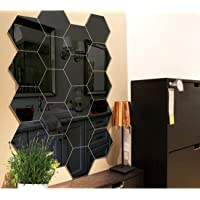 Bikri Kendra - Hexagon 20 Black - 3D Acrylic Decorative Mirror Wall Stickers