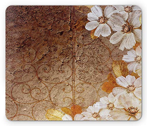 Grunge Mouse Pad, Flowers and Leaves Pattern on Cracked Wall with Floral Lines Classic Design Gaming Mousepad Office Mouse Mat Brown Off White Cracked Gold Leaf