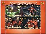 Manchester United squadra di calcio di calcio foglio di francobolli per collezionisti con Wayne Rooney, Robin van Persie e Vidic de Gea / Benin / 2014 / 1000F