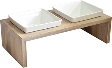 Wolters Replus Meshidai Futterstation Doppelnapf schiefer Holz Keramik Hunde Futterstation von REPLUS Hundenapf Doppelnapf XS -