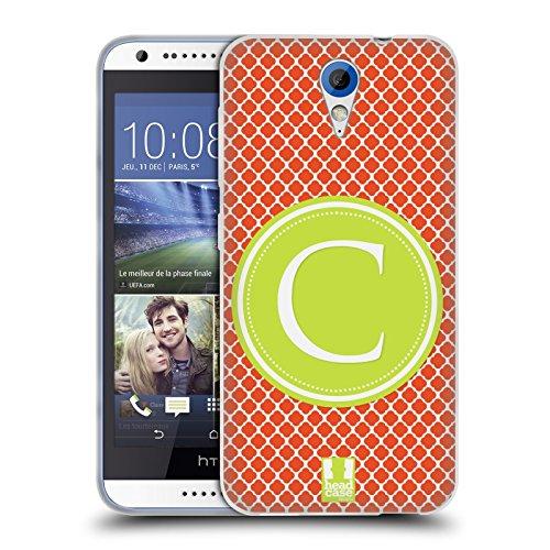 Head Case Designs C Buchstabe Handyhüllen Soft Gel Hülle für HTC Desire 620 / 620 Dual Sim (Dual-sim Handy Htc)