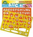 Lena 65774 - 2 Zeichenschablone Alphabet / Zahlen und Zeichen, ca. 26 x 19 cm