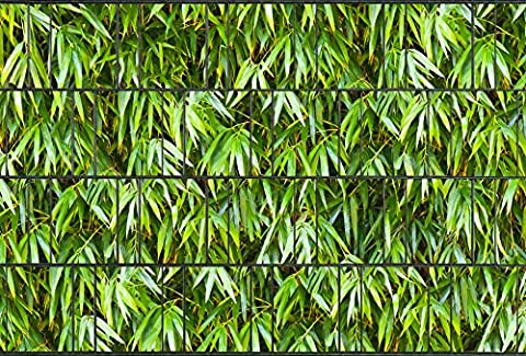 Zaunsichtschutz, Windschutz (31 versch. Motive) für Doppelstabmattenzaun *Bambusblätter* beidseitig, 19cm, 26m Rolle