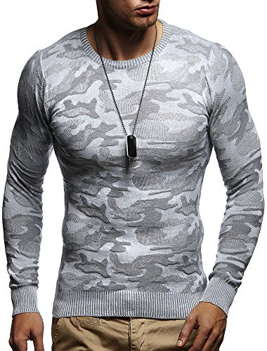LEIF NELSON Herren Pullover Strickpullover Hoodie Sweatshirt longsleeve langarm Sweater Camouflage Rundhals Crew Neck Feinstrick LN1510; Gr_¤e L, Grau