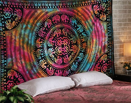 WORLD WIDE KART Tapisserie Hippie Mandala Tapisserie Twin Bohemian Elephant Tapisserie, indischer Psychedelic Dorm Decor Ethnic Decor Wandbehang bunt Boho Home