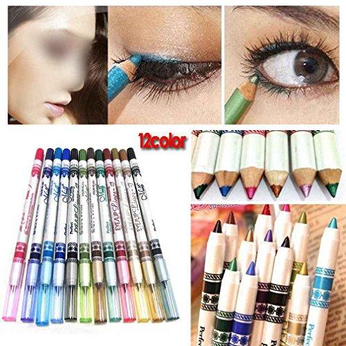 DAYAN 12 Farbe Glitter Eyeliner Pencil Lidstrich Augen Liner Eye Kosmetik Makeup Set