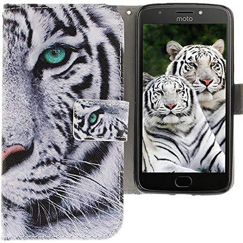CLM-Tech kompatibel mit Motorola Moto E4 Plus Hülle, Tasche aus Kunstleder, PU Lederhülle Leder-Tasche, Tiger weiß schwarz