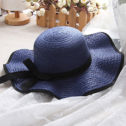 FA-FU la signora estate minimalista anti-sun cappello di paglia spiaggia turistica Visor (Signore Blu Visor)