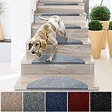 casa pura® Textilfaser - Stufenmatten für attraktive & sichere Treppenstufen | Set mit 15 Stück | robuste Allzweck-Matten für Stufen | verschiedene Farben ( grau )