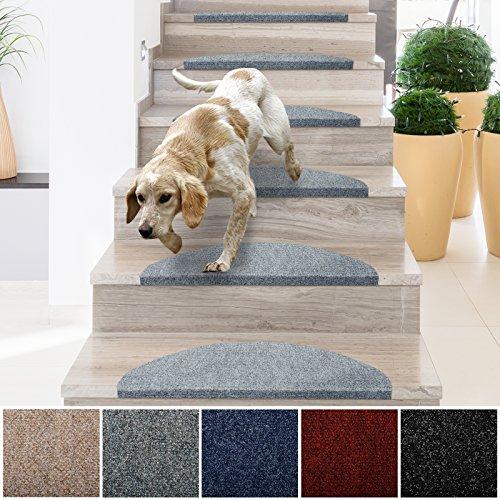 casa pura® Textilfaser - Stufenmatten für attraktive & sichere Treppenstufen | 15 Stück | grau