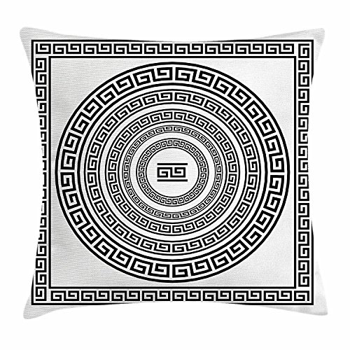 fringcoook Griechischer Schlüssel Überwurf, traditionelle Kissenbezug, Meander Bordüre Set mit quadratischen und Kreise Antik Ethnic Bilderrahmen Pack, Deko Quadratisch Accent Kissen Fall, 45,7x 45,7cm, schwarz weiß (Antik Weiß Leinen Blatt)