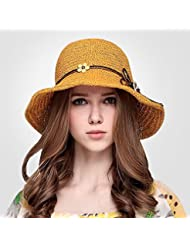 Women's outdoor large dôme escamotable eaves ourlet volume Sun Beach straw hat