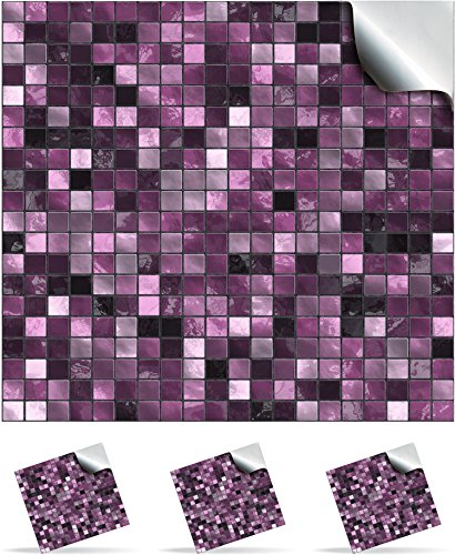 30 plum self adhesive mosaic wall tile decals for 150mm 6 inch square tiles tp3 realistic looking stick on wall tile transfers directly from the