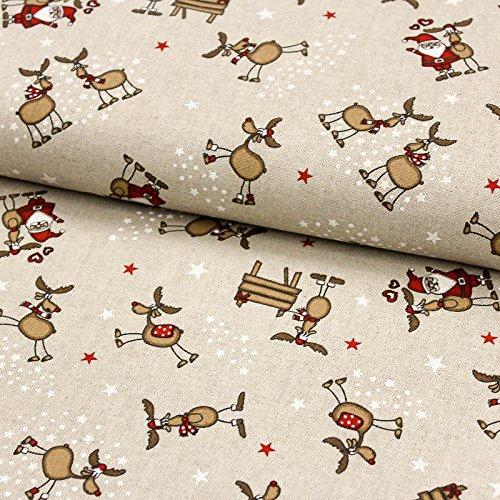 Stoff Dekostoff Weihnachten lustige Elche und Weihnachtsmänner in Leinenoptik - Meterware ab 50cm