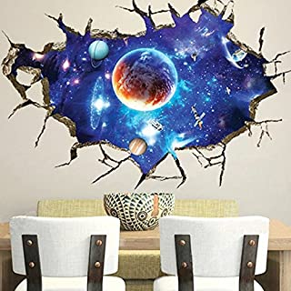 Aliciashouse 3D Outer Space Wall Stickers Home Decor Mural Art Removable Galaxy Wall Decals