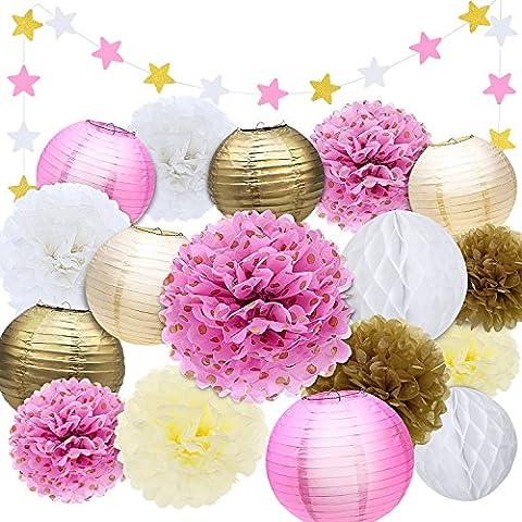 Outus 18 Pièces Papier Tissu Pom Poms Fleurs Lanternes en Papier Suspendues Fleurs Or Ivoire Rose Parti Décoration Kit pour les Décorations d'Anniversaire de Mariage