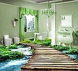 Malilove 3d-PVC Bodenbeläge benutzerdefinierte wasserdicht Wallpaper 3d-Brücke Wasserlauf 3d Badezimmer Bodenbeläge Bild Foto wallpaper für Wände 3 d