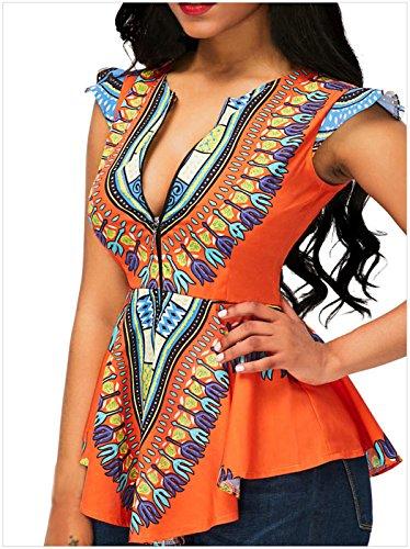 Sexy Cap Sleeve Baroque Ethnique Tribal Africain Imprimé Zippé Blouse Chemisier Shirt Chemise à basque Haut Top Orange Orange