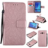 For Samsung Galaxy J5 2016 Case [Rose Gold],Cozy Hut [Wallet Case] Magnetic Flip Book Style Cover Case ,High Quality Classic New design Sunflower Pattern Design Premium PU Leather Folding Wallet Case With [Lanyard Strap] and [Credit Card Slots] Stand Function Folio Protective Holder Perfect Fit For Samsung Galaxy J5 2016 / SM-J510 5,2 inch - Rose gold