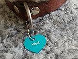 Gravuren.store 2 Stück Hunde-Katzenmarke Herz, Adressanhänger aus Aluminium, (24,5mm X 20mm S, Türkis)