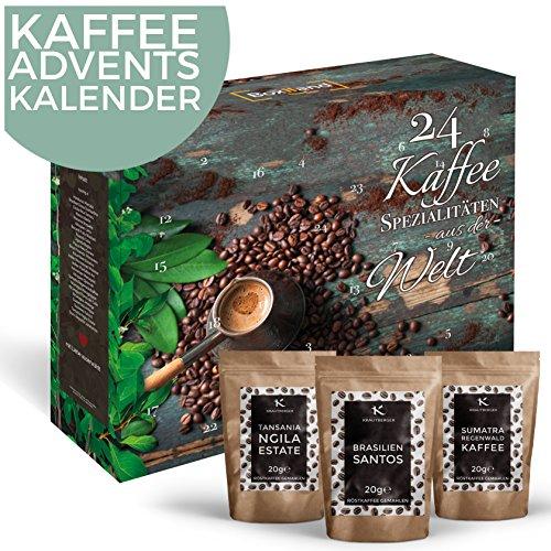 Kaffee-Adventskalender I Weihnachtskalender mit 24 edlen Kaffees aus aller Welt I Kaffeekalender als...