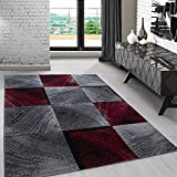 Carpetsale24 Modern designer Teppich für Wohnzimmer kurzflor 3 D Motiv Teppiche kariert Vintage Rot Weis 8003, Maße:160x230 cm