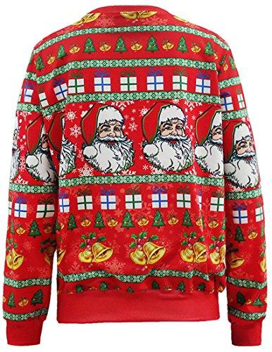 Belsen Femme Noël Sweat-shirts pull-over T-shirt Santa Red