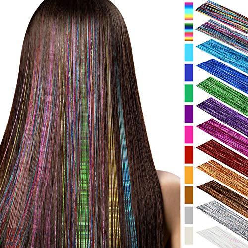 24 Stücke 40 Zoll Haar Lametta 2880 Stränge Highlights Glitter Haar Erweiterungen Bling Gerade Haarteile Party Multi-Farben Haar Streifen für Party Supplies, 12 Farben