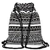KING DO WAY Unisex retrò zaini geometriche borsa morbida coulisse modellato il tempo libero viaggio zaino sport scolastico 34.5cmX40cm immagine