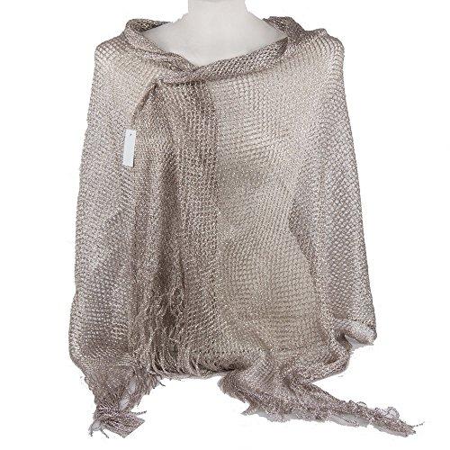 Emila stola cerimonia coprispalle elegante con frange a rete foulard scialle grande platino l190xh70