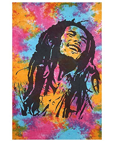 Bob Marley Tapisserie Tie Dye Multi Farbe indische Hippie Bohemian Tagesdecke Mandala Wandbehang Baumwolle Decor Wohnheim Strand Decke Twin Size