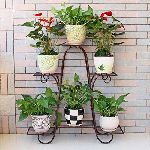 LAXF-Wand Regale Schweberegal Wandregal Schmiedeeisen-Blumen-Stand-mehrschichtiges stehendes Balkon-Pflanzer-Grün-Wohnzimmer-hängendes Orchideen-Regal-einfache Blumen (Farbe : B) (Hängende Orchidee Pflanzer)